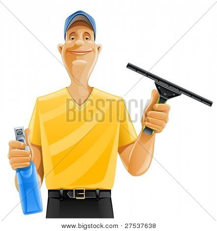 man cleaning window squeegee spray vector illustration isolated on white background