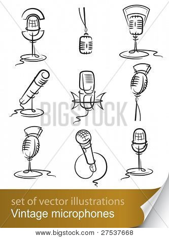 set vintage microphone vector illustration isolated on white background