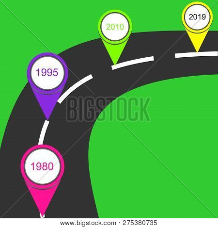 Vector Road Infographic. Template With 4 Pin Pointer On A Curved Road Line.