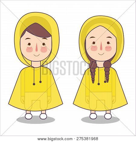 Cute Little Girl And Boys Playing Wearing Rain Coat And Boots Vector Stock Illustration