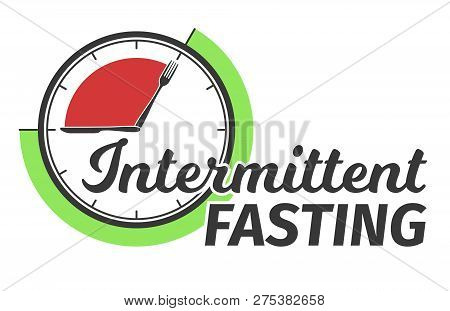 Logo Of Intermittent Fasting. Clock Face Symbolizing The Principle Of Intermittent Fasting. Infograp
