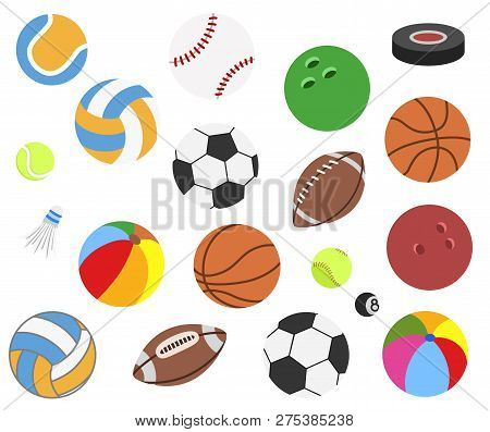 Set Of Vector Realistic Sport Balls For Football, Soccer, Rugby, Tennis, Volleyball, Basketball, Bas