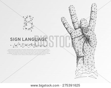 Origami Style Sign Language Number Eight Gesture, Fillip, Flick, Finger Kick Gesture. Polygonal Low