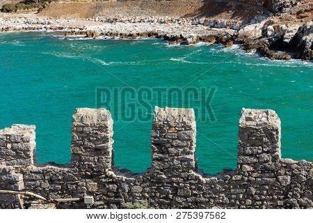 Surrounding Wall Of The Small Town Of Porto Venere Or Portovenere, Unesco World Heritage Site. Gulf