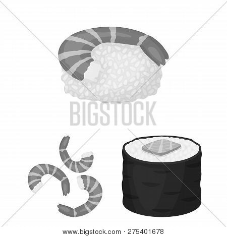 Isolated Object Of Sushi And Fish Sign. Set Of Sushi And Cuisine Vector Icon For Stock.