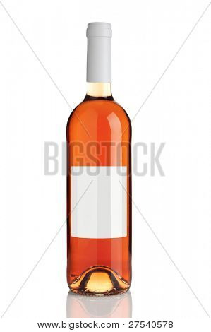 bottle of rose wine with blank label isolated on white