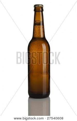 single bottle of beer, brown glass, no labels, isolated on white