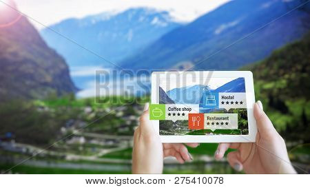Augmented Reality Ar Information Technology Is Displayed On A Tablet In Mountain To Guide And Show I