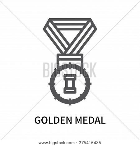Golden Medal Icon Isolated On White Background. Golden Medal Icon Simple Sign. Golden Medal Icon Tre