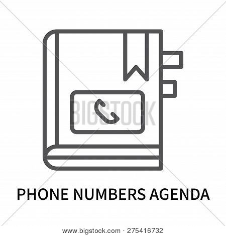 Phone Numbers Agenda Icon Isolated On White Background. Phone Numbers Agenda Icon Simple Sign. Phone