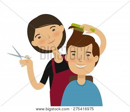 Hairstylist Cutting Hair. Mens Hairstyle, Beauty Saloon Concept. Funny Cartoon Vector Illustration
