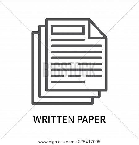 Written Paper Icon Isolated On White Background. Written Paper Icon Simple Sign. Written Paper Icon