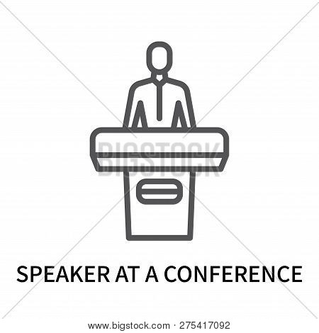 Speaker At A Conference Icon Isolated On White Background. Speaker At A Conference Icon Simple Sign.
