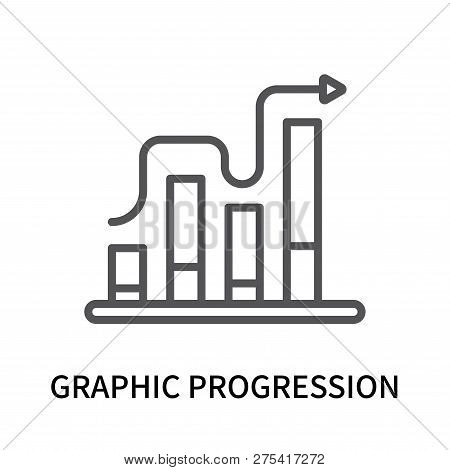 Graphic Progression Icon Isolated On White Background. Graphic Progression Icon Simple Sign. Graphic