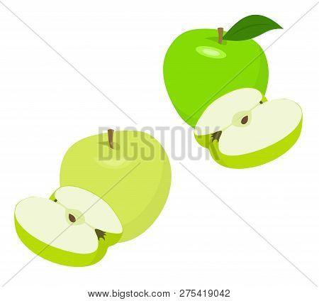 Ripe Green Apple Fruit With Apple Half And Apple Leaf Isolated On White Background. Apples And Leaf