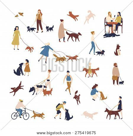Crowd Of Tiny People Walking Their Dogs On Street. Group Of Men And Women With Pets Or Domestic Anim