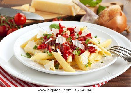 traditional italian pasta dish with hot Arrabbiata sauce