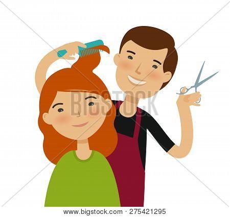 Hairstylist Cutting Hair. Womens Haircut, Beauty Saloon, Fashion Concept. Funny Cartoon Vector Illus