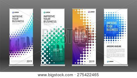 Real Estate Roll Up Banners Design Templates Set. Vertical Banner For Event With Halftone Effect Vec