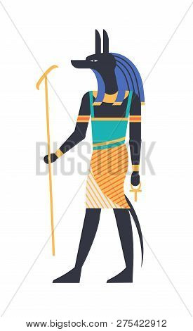 Anubis - God Of Afterlife, Patron, Deity Or Mythological Creature With Wolf Or Jackal Head Holding A