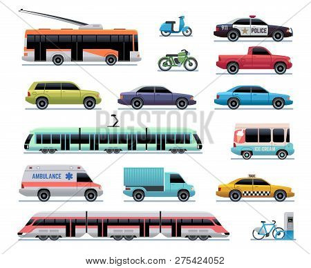 City Transport. Cartoon Car, Bus And Truck, Tram. Train, Trolleybus And Scooter. Urban Vehicle Vecto