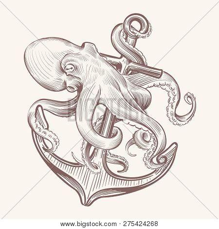 Octopus With Anchor. Sketch Sea Kraken Squid Holding Ship Anchor. Octopus Navy Tattoo Vector Vintage
