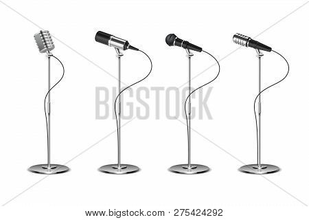 Microphone Set. Standing Microphones Audio Equipment. Concept And Karaoke Music Mics Vector Isolated