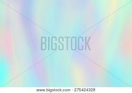 Rainbow Texture. Hologram Foil Iridescent Background. Pastel Fantasy Unicorn Vector Pattern. Illustr
