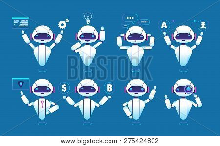 Chatbot Character. Cute Robot Online Chat Robot In Different Poses. Chatterbot Vector Isolated Set.