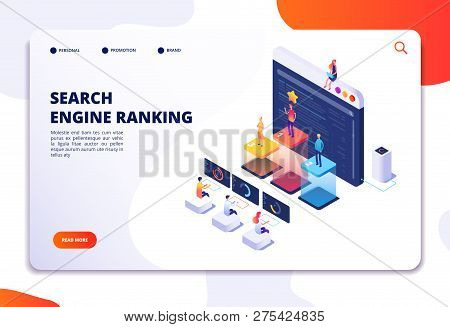 Search Engine Rank Isometric Landing Page. Seo Marketing And Analytics, Online Ranking Result. 4ir 3
