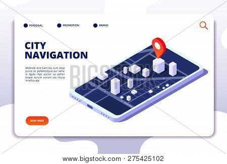Navigation Map Isometric Concept. Gps Location System. Phone Tracker With Global Positioning. Vector