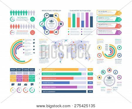 poster of Infographic template. Financial investment graphs, column chart organization flowchart. Presentation infographics vector element. Illustration of infographic web with world map