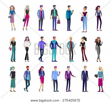 Detailed Character Business Men And Women, Working People. Business Team Lifestyle, Stylish Clothes