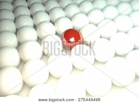 Red Ball In Between Many White Balls
