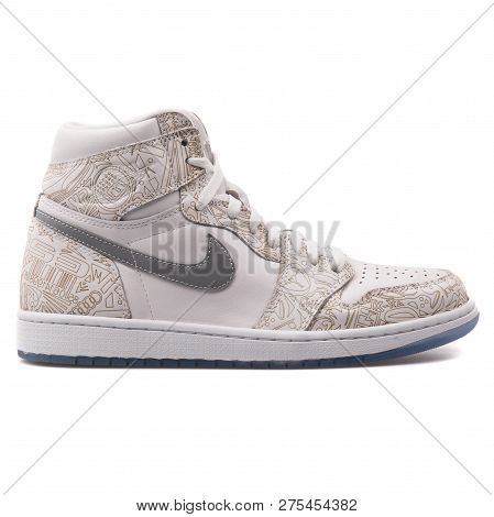 Vienna, Austria - June 14, 2017: Nike Air Jordan 1 Retro High Og White And Beige Sneaker Isolated On
