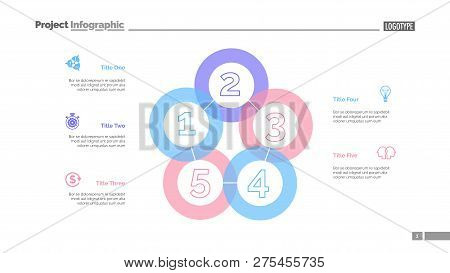 Five Sequences Diagram Slide Template. Business Data. Graph, Diagram. Creative Concept For Infograph