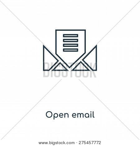 Open Email Icon In Trendy Design Style. Open Email Icon Isolated On White Background. Open Email Vec