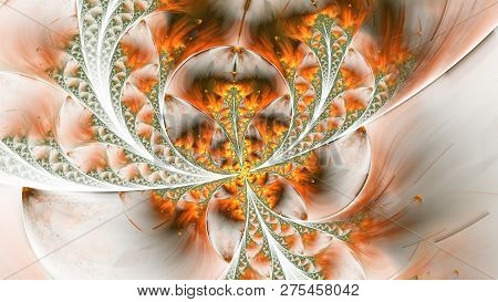 Extraordinary Beautiful Multi-colored Stained-glass Butterfly. Abstract Fractal Symmetrical Shapes,