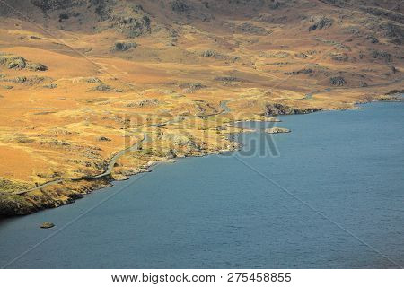 Ariel View Of Wast Water Coastline Landscape
