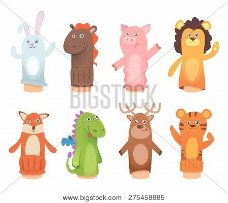 Cartoon Puppets. Dolls From Socks On Hands And Fingers Puppet Toys For Kids Vector Funny Characters.