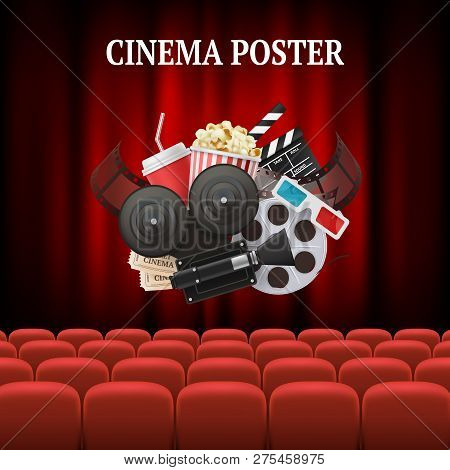 Movie Chairs Background. Red Set Cinema Movie Premier Theater Curtain Concept Vector Background Illu