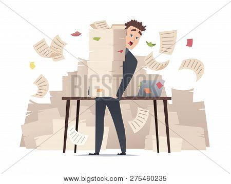 Workload Businessman. Overwork Office Manager Director Sitting At Table Over Much Papers Documents B