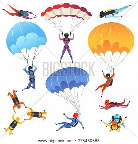 Extreme Parachute Sport. Adrenaline Characters Jumping Paragliding And Skydiving Fly Aerodynamics Ve