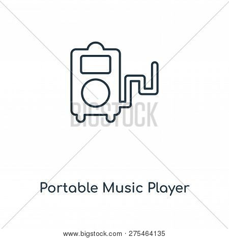 Portable Music Player Icon In Trendy Design Style. Portable Music Player Icon Isolated On White Back