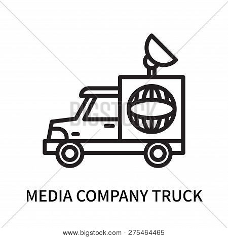 Media Company Truck With Satellite Icon Isolated On White Background. Media Company Truck With Satel