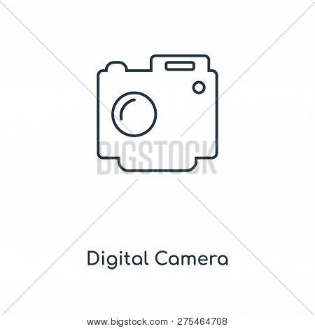 Digital Camera Icon In Trendy Design Style. Digital Camera Icon Isolated On White Background. Digita