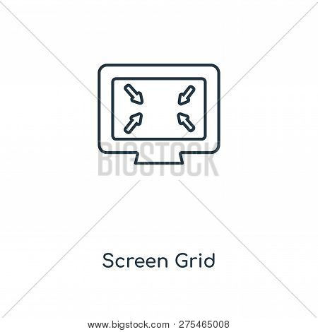 Screen Grid Icon In Trendy Design Style. Screen Grid Icon Isolated On White Background. Screen Grid