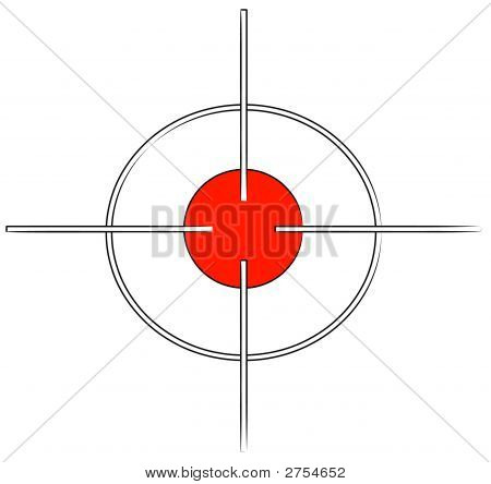 gun target or cross hairs with red mark poster