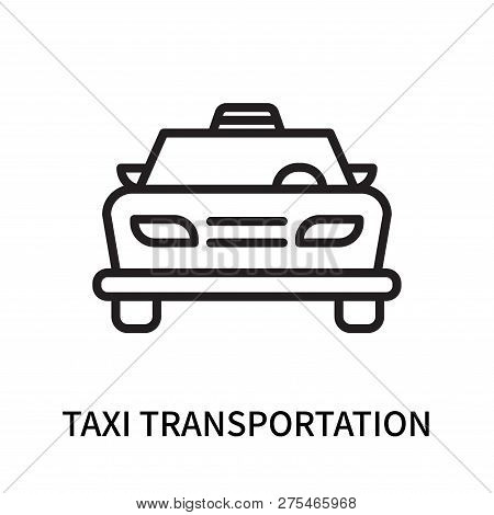 Taxi Transportation Car From Frontal View Icon Isolated On White Background. Taxi Transportation Car