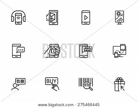 Online Shopping Icons. Set Of Line Icons. Shop Rating, Mobile Messenger, Barcode. Mobile Developing